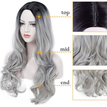 Long Womens Wigs Ombre Black Gray Wigs Heat Resistant Middle