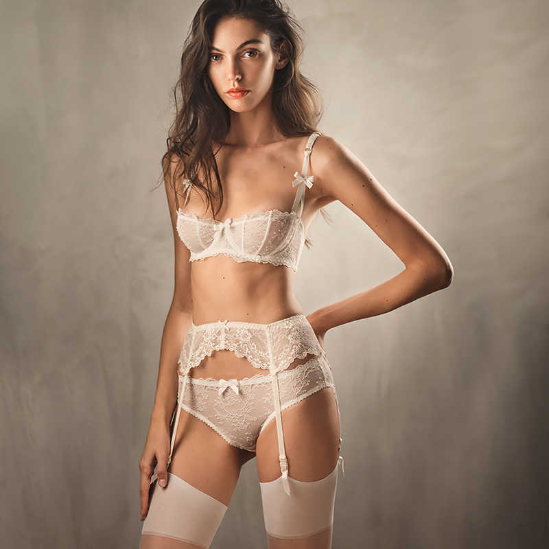 Siddons Ultradunne Ondergoed Sets Sexy Bh Vrouwen Lingerie Strik Transparante Kanten Beha + Panty Suits Wit Roze Half Cup Beha