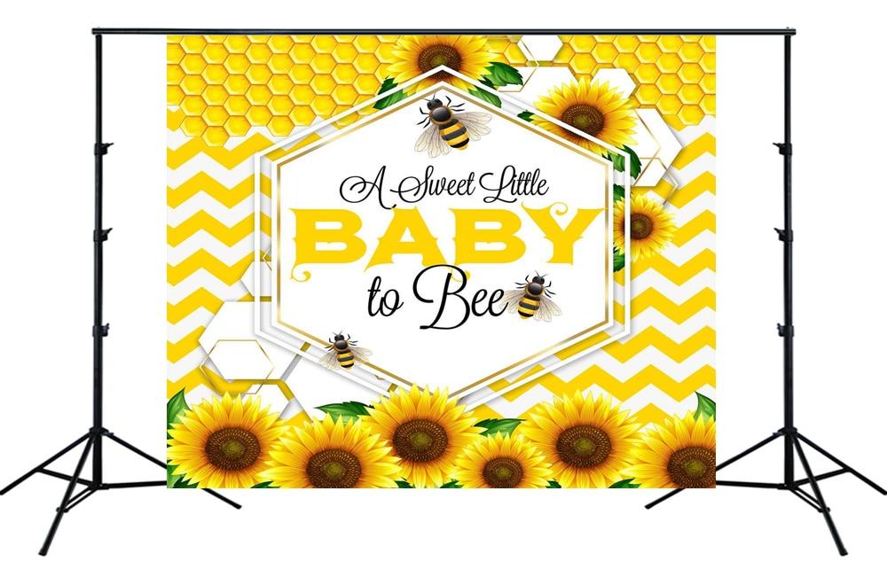 Doux comme peut abeille bébé douche toile de fond jaune nid dabeille tournesols garçon fille fête danniversaire Table décor photo fond SM-285