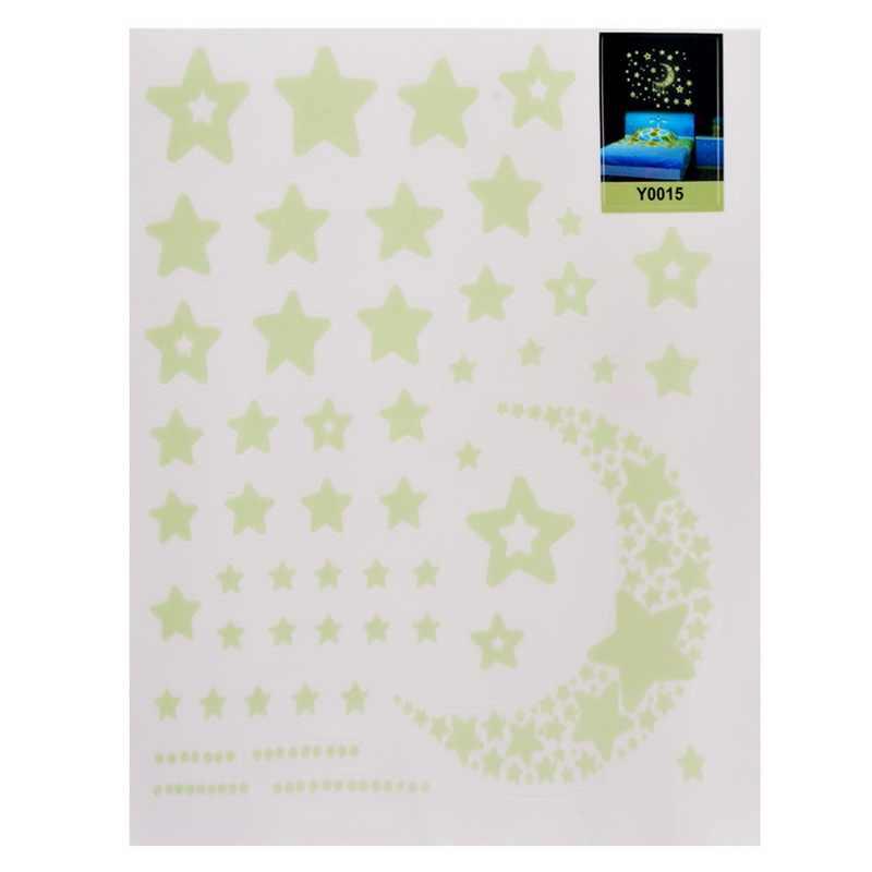 1 arkusz gwiazda kształt świecąca naklejka na ścianę naklejki świecące w ciemności naklejki na pokoje dziecięce Home Decor kolorowe fluorescencyjne naklejki