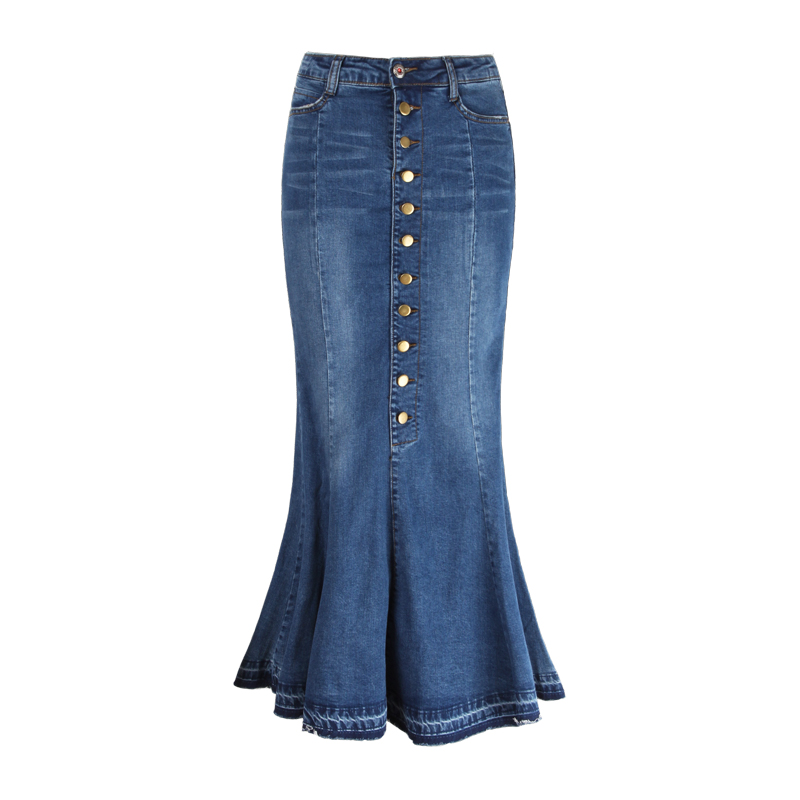 High Waist Women Spring Autumn Denim Skirt Female Long Trumpet Jean Skirt Femme Plus Size 8XL 9XL Ruffle Mermaid Jeans Skirts
