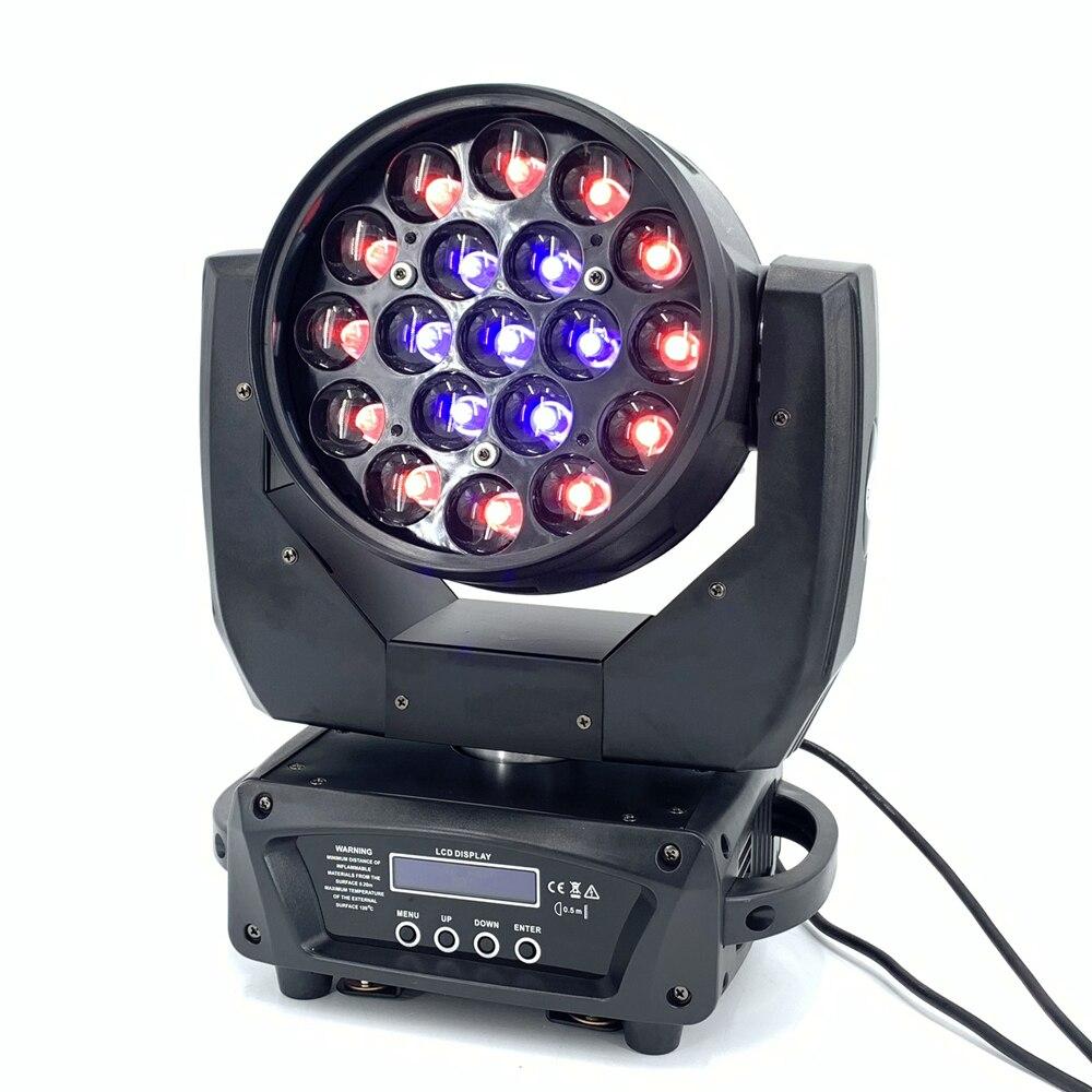 LED 19x15W wiązka rgbw mycie/światło powiększające profesjonalny DJ/Bar LED maszyna sceniczna DMX512 światło LED Zoom wiązka koło sterowanie ruchoma głowica