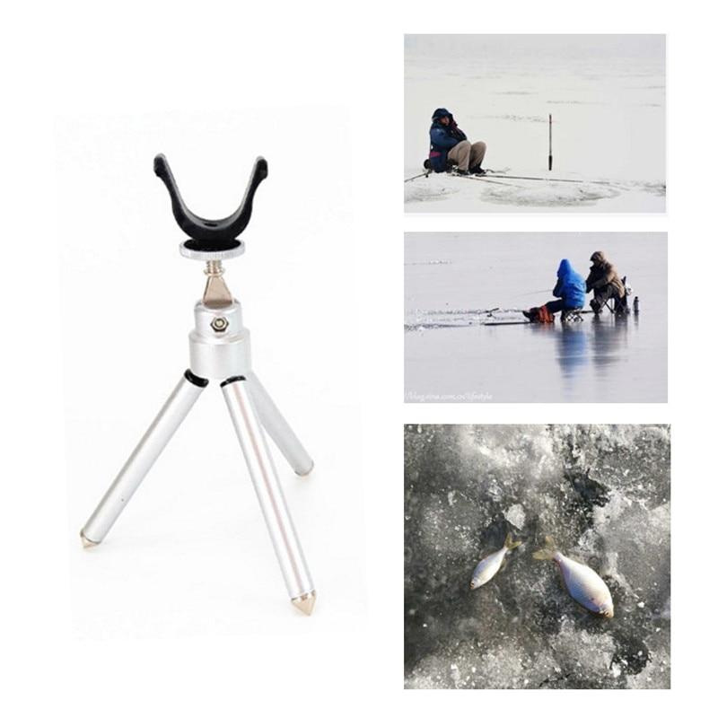 Portable Folding Ice Fishing Rods Holder Small Triangle Bracket Winter Ice Fishing Pole Fishing Tackle Gear