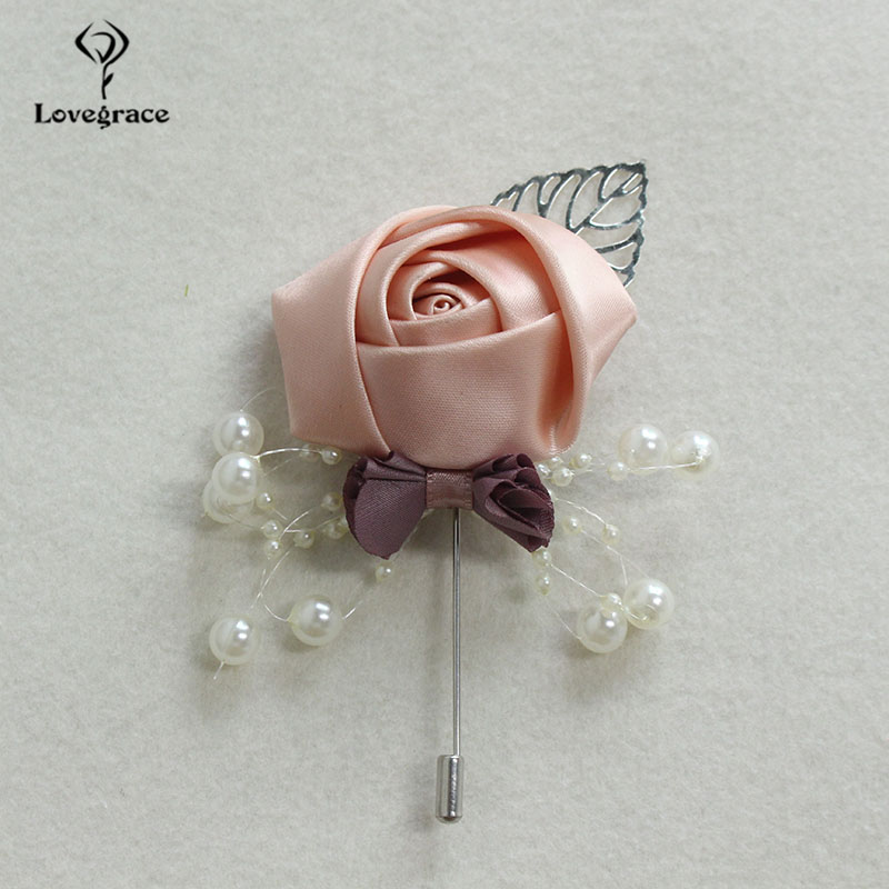 Lovegrace Newest Silk Rose Flower Men Suit Boutonniere Silver Leaves Decor Wedding Boutonniere Flower Dress Accessories