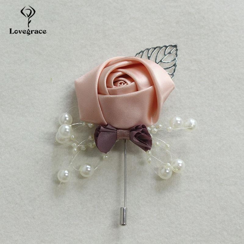 Lovegrace Newest Silk Rose Flower Men Suit Boutonniere Silver Leaves Decor Wedding Boutonniere Flower Dress Accessories