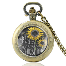 High Quality Vintage You Are My Sun Flower Glass Dome Quartz Pocket Watch Classic Men Women Couples Necklace Pendant Gifts