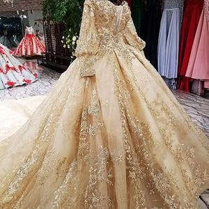 Image 3 - LS68774 יוקרה כדור שמלת שמלת ערב 2020 ארוך שרוול כבוי כתף פרחי זהב מבריק 100% אמיתי כמו תמונות