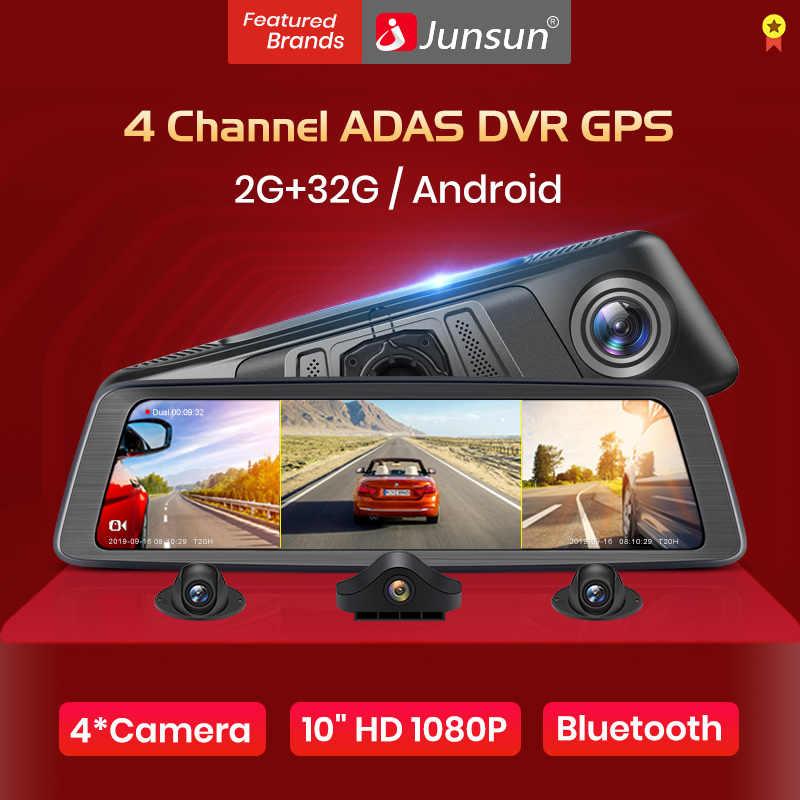 "Junsun K910 ADAS 4 قناة 8 الأساسية أندرويد سيارة كاميرا DVR مسجل فيديو مرآة 4 جرام 10 ""وسائل الإعلام مرآة الرؤية الخلفية داش كام FHD 1080P"