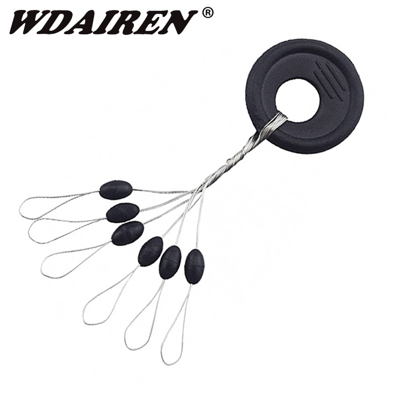 60pcs Or 120pcs/Set Float Black Rubber Stopper Fishing Bobber Stopper Float Oval Bean Space Fishing Line Tackle Accessories