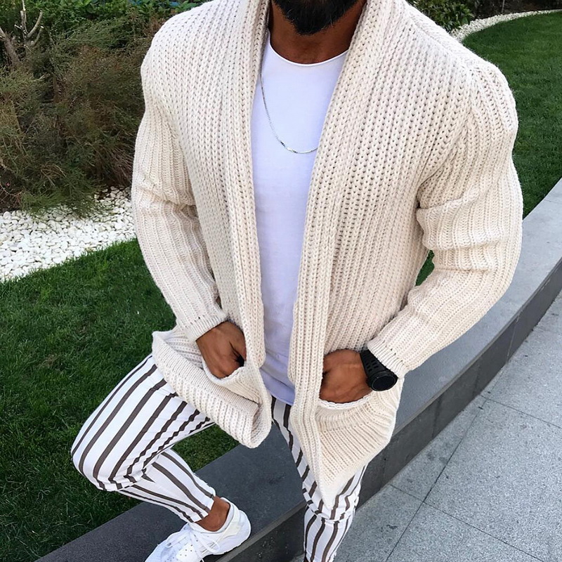 DIHOPE Winter Warm Sweater Coat Pockets Casual Men Sweatercoat Tricot Cardigan Autumn Knitted Sweater Casaco Masculino Hombre