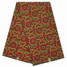 red 2020 Hot Selling 6 Yards 100% Cotton African Wax Clothing Real Wax Ankara Wax Style for Patchwork Sewing Wedding Dress(China)