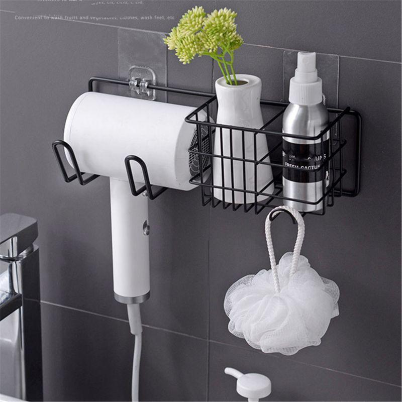 Wall Mounted Hair Dryer Storage Organizer Rack Holder Hanger Using in Bathroom S
