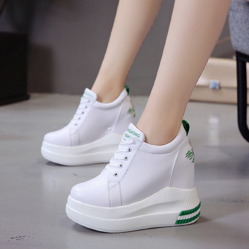 Rimocy High Platform Wedges Shoes For Women Height Increasing Chunky Sneaker Woman Embroidery High Heels Casual Ladies Shoes