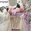 Ezgaga Women Blouse Square Collar Ruched Stretch Patchwork Mesh Lantern Sleeve Solid Slim Sweet Elegant Korean Fashion Shirt 1