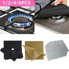 1/2/4/6 pces reutilizável gás capa fogão queimador esteira temperatura anti-incrustação forro almofada de óleo limpeza ferramentas de cozinha