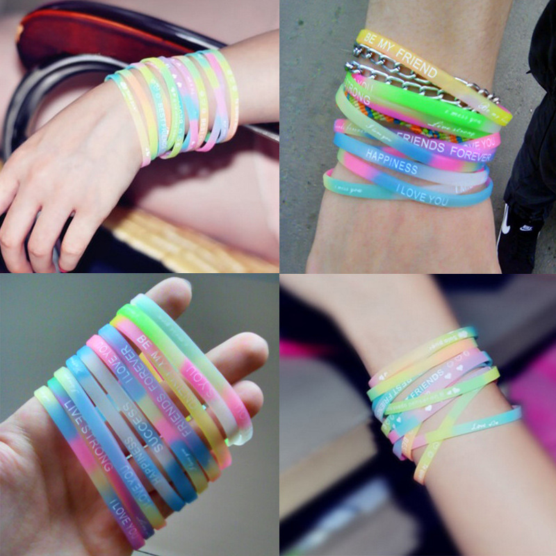 Bracelet Rubber-Volleyball Happy-Printing Sports Bangle Wristband Light-Color Letters