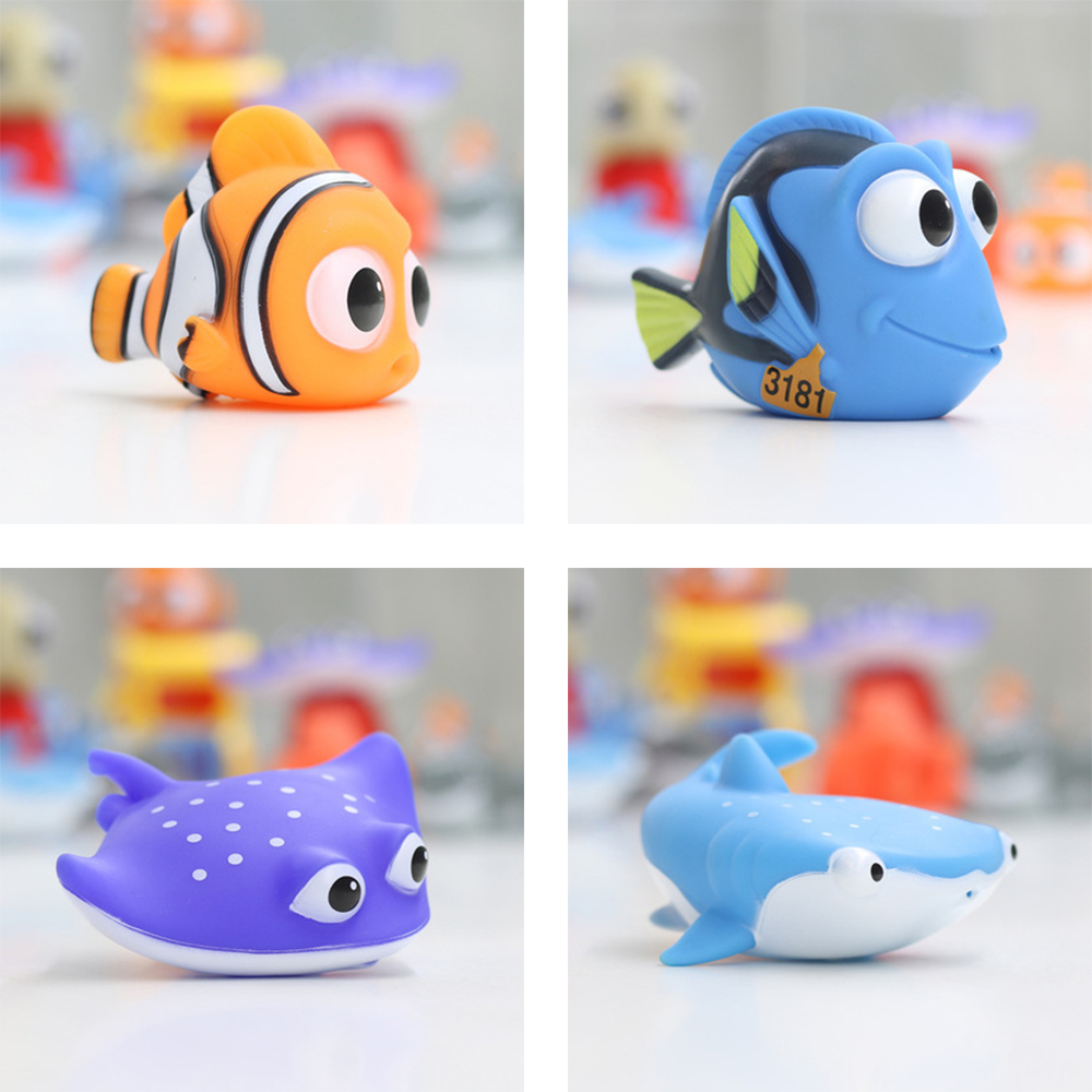 Baby Bath Toys Squeeze Debbling Toys Kids Float Water Tub Rubber Clown Fish Nemo Bathroom Play Animals Spray Toy