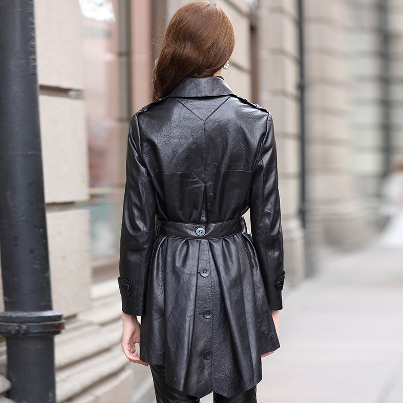 Leather Genuine Women Jacket Long Slim Natural Sheepskin Coat 2020 Autumn Winter Real Leather Trench Coats HQ18YWD8007A S