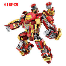 Super Heroes Avengers Iron Man Hulk Buster Mech Robot Figures Building Blocks Compatible Legoeds Technic Bricks Children Toys(China)