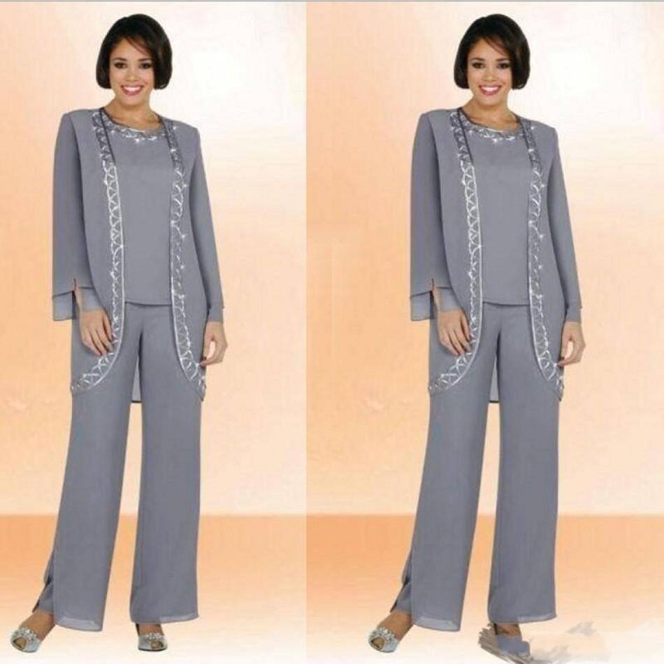 Custom Made Chiffon Plus Size Mother Of The Bride Pant Suits With Long Sleeve Jacket Sequin Grey Mother Formal Occasion Suit