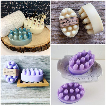 SJ 4 Cavity Silicone Soap Mold for Massage Therapy Bar Making Tools DIY Homemade Oval Spa Soaps Mould Form - discount item  77% OFF Arts,Crafts & Sewing