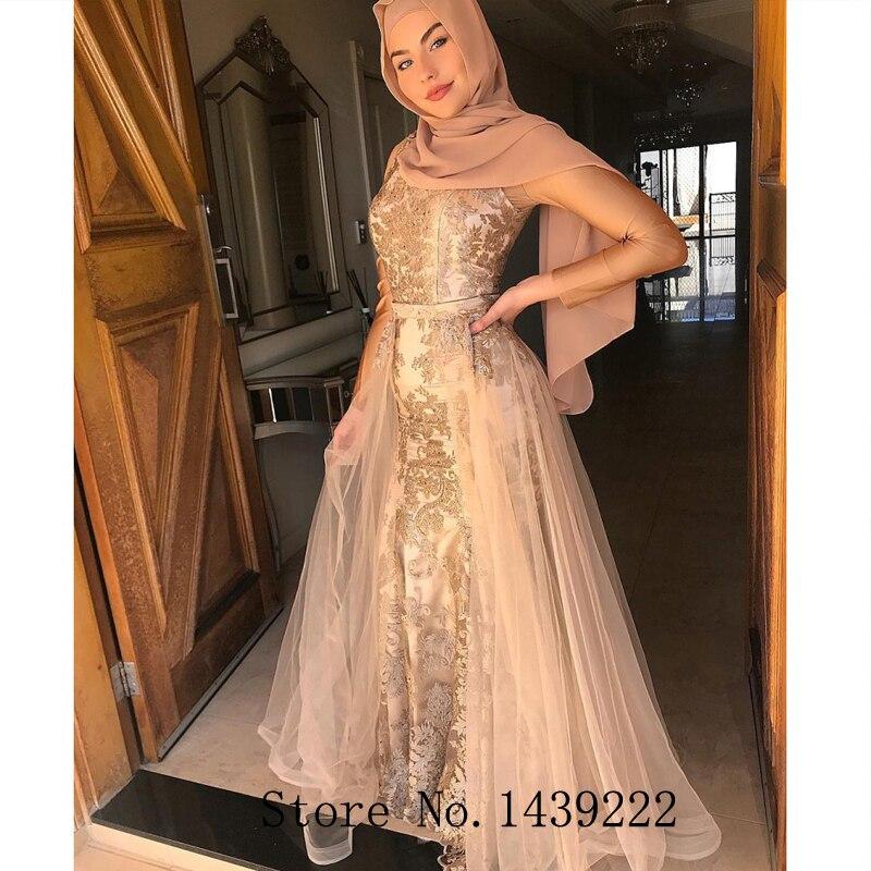 Muslim Champagne Mermaid Evening Gowns Detachable Scoop Appliques Formal Celebrity Dresses Robe De Soiree Evening Dress