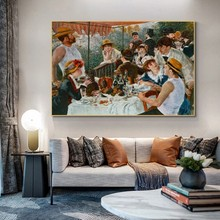 Pierre Auguste Renoir The Boater's Lunch Famous Canvas Painting Posters and Prints Wall Art Pictures for Living Room Home Decor