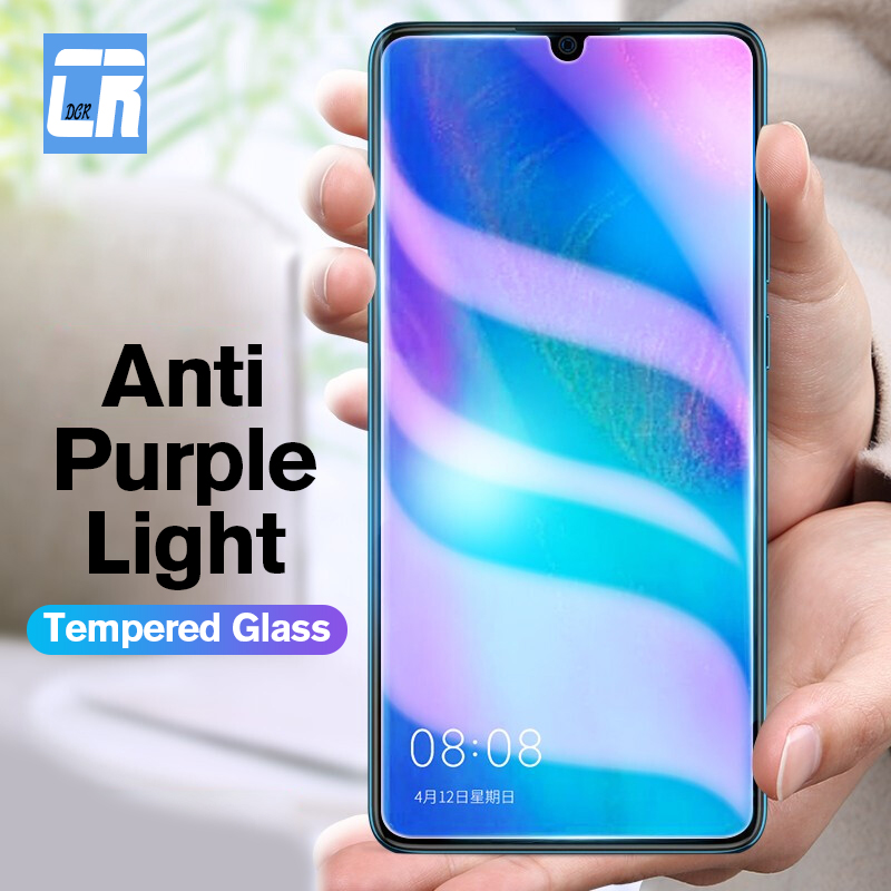 2.5D Anti Purple Full Protective Tempered Glass For Huawei P30 Lite P10 Nova 4 4e 2 Plus Screen Protector For Honor 20 8A Glass