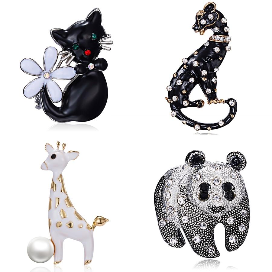 Rinhoo Animal Cartoon Pin Cute Panda Pet Cat Leopard Giraffe Enamel Brooches Fashion Luxury Vivid Animal Pin Badge Lovely Brooch