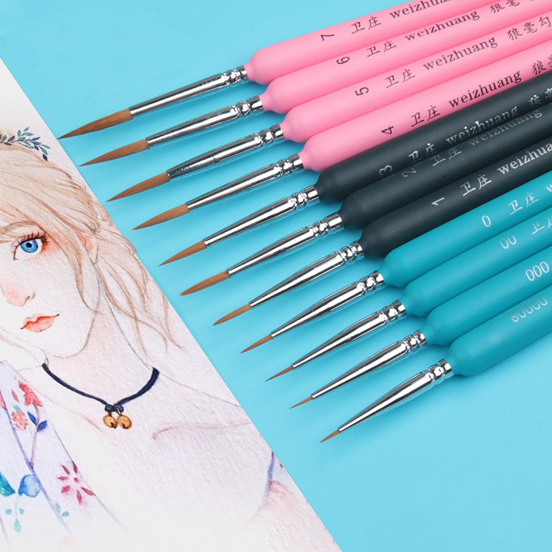 3Pcs Professional Hand-painted Hook Line Brush Pen Fine Watercolor Drawing Painting Brush For Students School Art Stationery