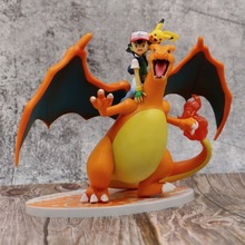 цена на Ash Ketchum with Mega Charizard Pika Lizardon Action Figure Model Toys pkm Anime Figure Collection Toys Gift for Children