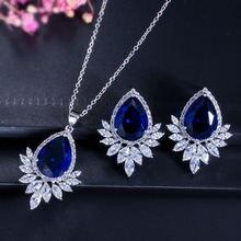 Модный Роскошный aaa циркон ожерелье серьги посеребренный белый