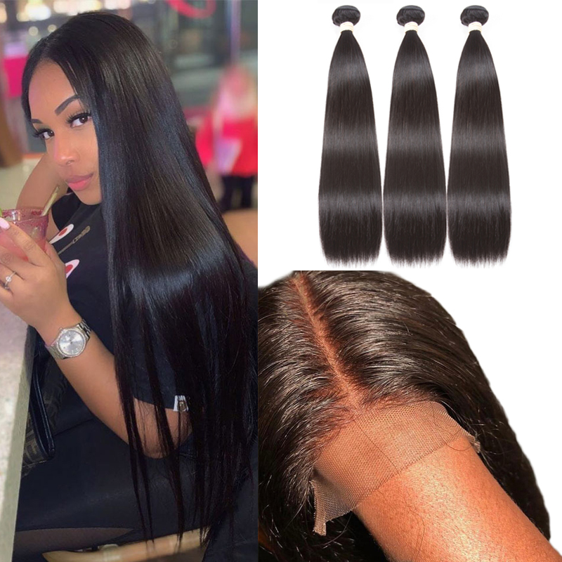 Sapphire Brazilian Straight Hair Weave Bundles With Closure Transparent Lace Closure Remy Hair Human Hair Bundles With Closure
