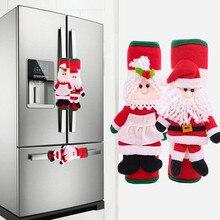Рождественская ручка для холодильника, крышка для кухни Санты, микроволновой печи, дверная ручка для холодильника, защитная крышка для двер...