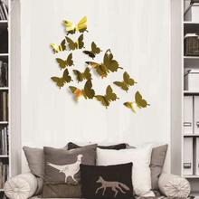 fashion 12Pcs PVC Butterfly 3D Mirror Removable Wall Sticker Decal DIY Art Home Decor Water Resistant Butterfly Shape Wall Decal цена 2017