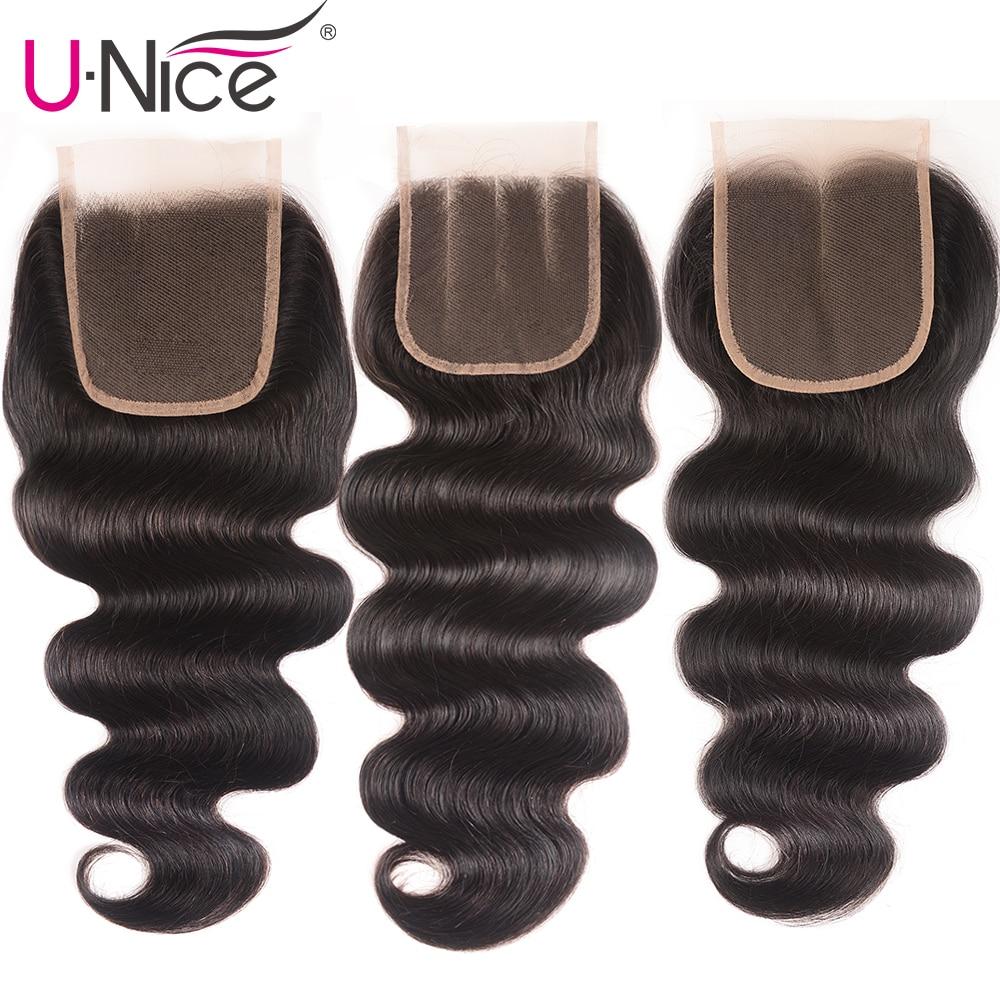UNice Hair Brazilian Body Wave Closure Swiss Lace Middle &Free &Three Part RemyHuman Hair Lace Closure 1 Piece 10