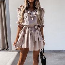 Fashion Elegant Ruffles V-Neck Party Dress Women Summer Vintage Lace-Up Waist Mini A-Line Dresses Ladies Casual Pleated Dresses