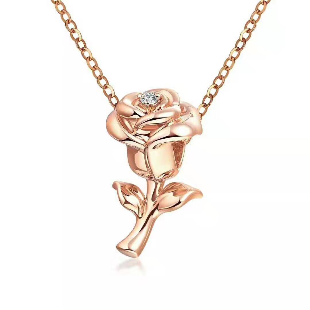 Romantique Rose fleur 18K solide véritable pendentif à breloque en or véritable collier pour les femmes élégant diamant bijoux de mariage Valentine cadeau