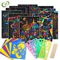 Волшебная Цвет Радуга скретч-набор бумажных карточек с трафарет для граффити для Рисование палка DIY живопись игрушка для детей, GYH
