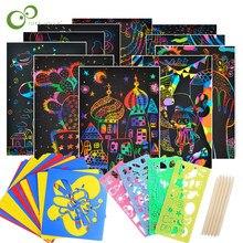 Sihirli renk gökkuşağı Scratch kuşe kağıt kartı seti Graffiti ile şablon çizim sopa DIY sanat boyama oyuncak çocuklar için GYH