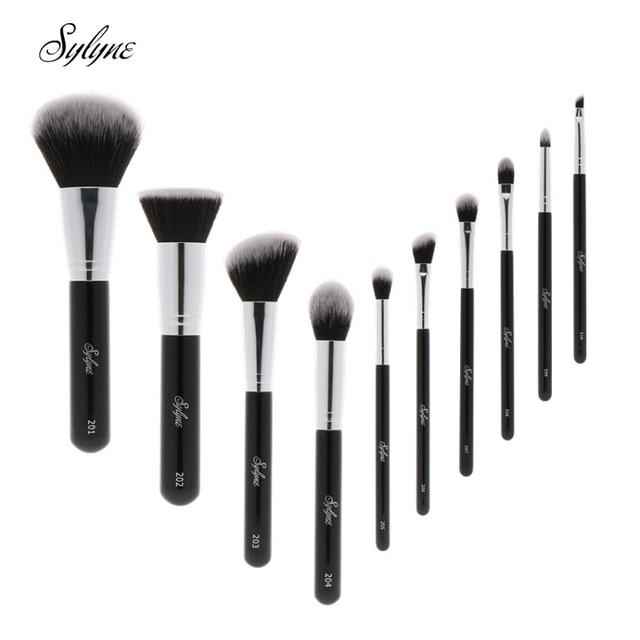 Sylyne Bộ cọ trang điểm 10 chiếc chuyên nghiệp chất lượng cao trang điểm màu đen cổ điển nền cọ trang điểm Bộ dụng cụ.
