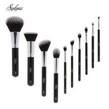 Sylyne jeu de pinceaux de maquillage 10 pièces pinceaux de maquillage professionnel de haute qualité classique fond de teint noir maquillage kit de pinceaux outils.