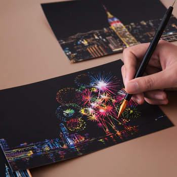 fireworks scratch art, pen, hand scratching art work, new york skyline