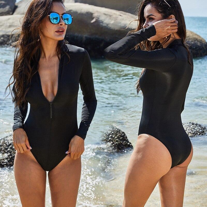 Sexy manga longa plus size roupa de banho das mulheres um pedaço maiô preto rashguard natação maiô praia wear bodysuit monokini