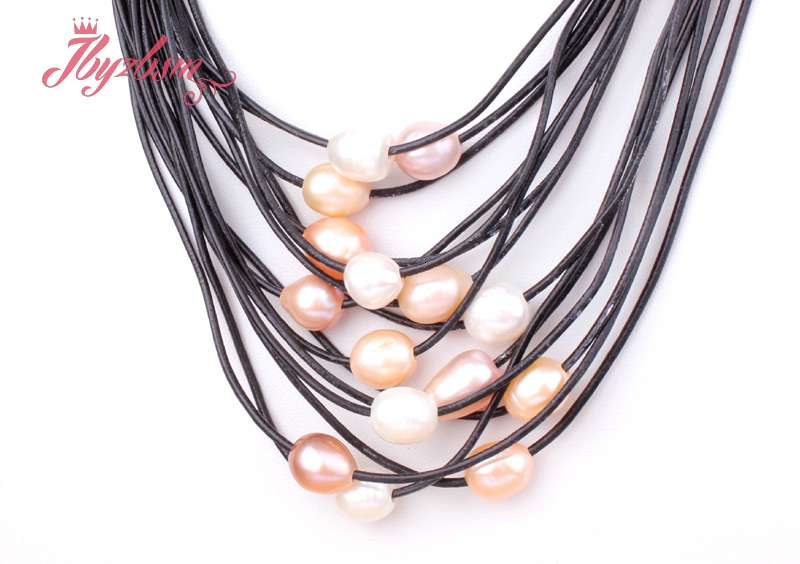 """10-12mm Natural Freshwater Pearl 15 Row Leather Necklace 16/""""-22/"""" Magnet Clasp"""
