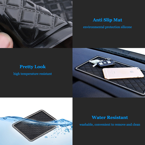 Car Anti Slip Mats Black Auto Dashboard Sticky Anti-skid Pads Phone MP3 GPS Sunglasses Keys Holder Mount Bracket Gadgets Styling Lahore