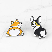 High Quality Funny Puppy Enamel Pin Creative Cartoon Corgi Dog Brooch Lady Badge Collar Pins Men Jackets Metal Brooches Jewelry(China)
