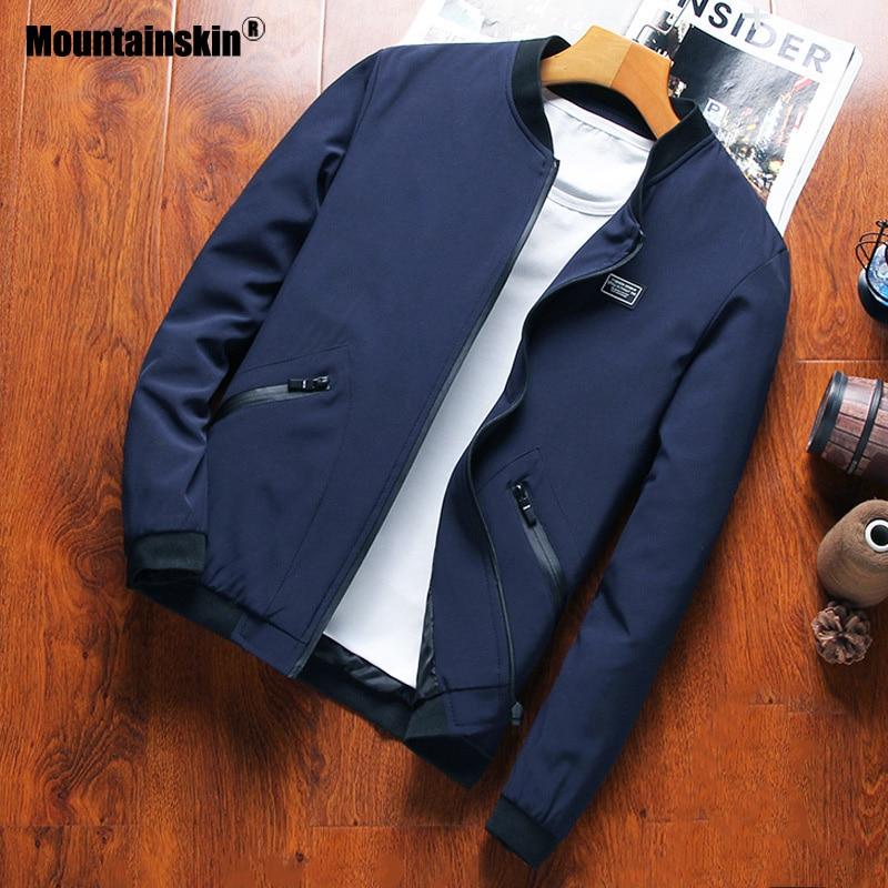 Mountainskin Men's Baseball Collar Jacket Men's Casual Autumn Coat Fashion Slim Fits Large Size M~8XL Brand Clothing SA755