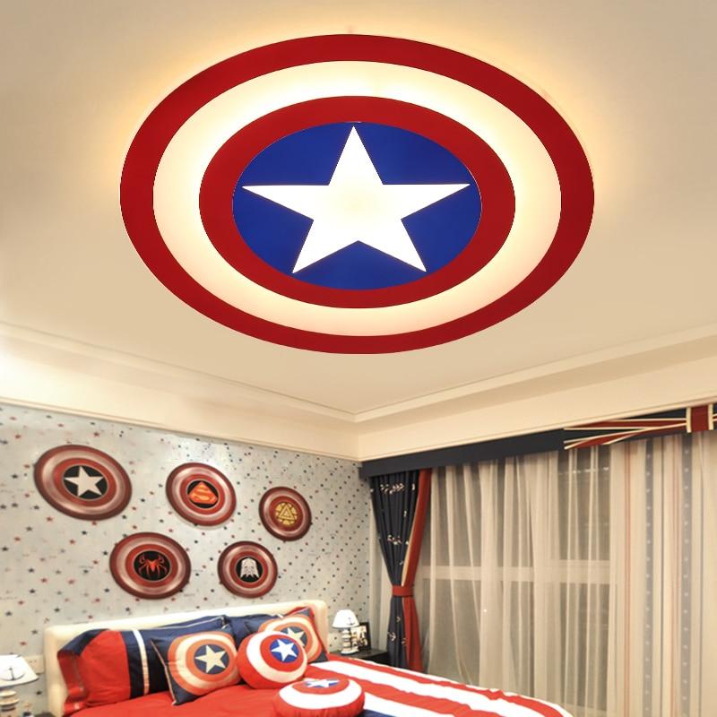 Современный светодиодный Американский капитан круглый детский потолочный светильник для спальни, для учебы, потолочный светильник