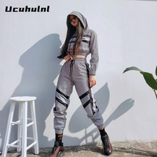 Women Reflective Two Pieces Sets Silver Pactwork Ctop Top Sweatshirts Elastic Drawstring Pants Tracksuits Womens Clothing 2019